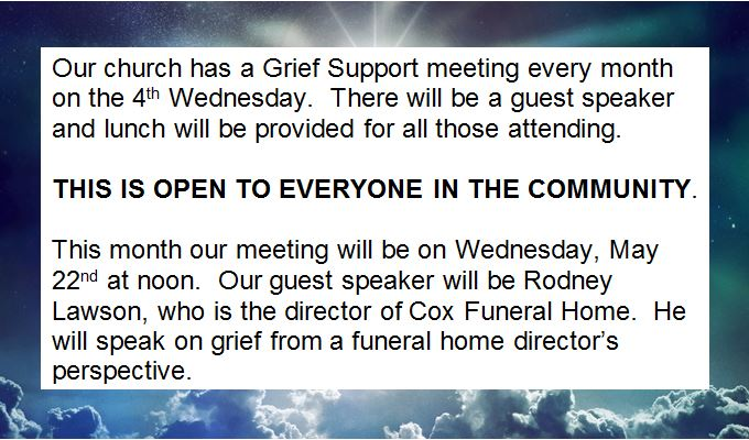 Grief Support Announcement